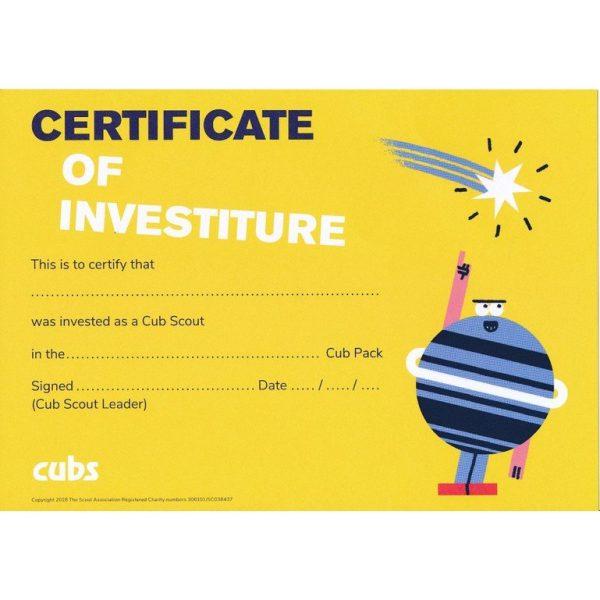 Cubs Investiture Cert
